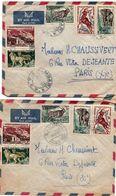 Bambari 1957 - AEF & Oubangui-Chari - 2 Lettres Avec Oblitérations Différentes - Briefe U. Dokumente