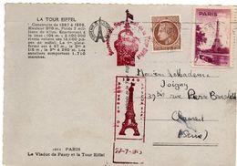 Souvenir De La Tour Eiffel - Vignette Et Cachets Sur Carte 1946 - Tourisme (Vignettes)