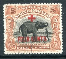 North Borneo 1918 Red Cross Surcharges - 5c + 4c Elephant - P.13½-14 - Fine Used (SG 239) - North Borneo (...-1963)