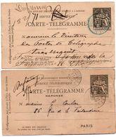2 Carte-télégramme Pneu Paris 1891 Chaplain 30 Cts - Une Carte Réponse - Paris 71 Hugo & Paris 52 Montparnasse - Entiers Postaux
