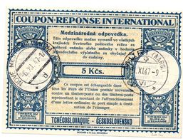 Tchécoslovaquie Coupon-réponse 1946 Type Lo 14 5 Kcs. - Nové Mesto 1947& Muri (Aarg) - Ceskolovensko - CRI IAS IRC - Non Classés
