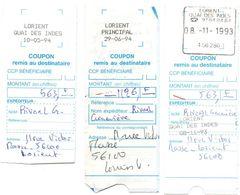 Lorient Quai Des Indes & Lorient Principal 1993 - 3 Oblitérations Différentes Sur Coupon CCP - 1961-....