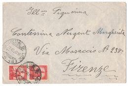 IZ851   STORIA POSTALE 1950 - ANNULLO FRAZIONARIO - CASTIGLIONE DEL LAGO (46-46) SU LETTERA PER FIRENZE - 6. 1946-.. Republic