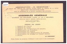 ASSOCIATION IN MEMORIAM EN FAVEUR DES FAMILLES DE SOLDATS - TIMBRE DE FRANCHISE No 784 - TB - NE Neuchâtel