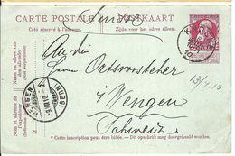 BELGIQUE 1910: CP (entier De 10c) De Knocke Pour Wengen (Suisse) CAD - 1905 Grove Baard