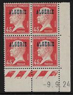 ALGERIE N°22* TYPE PASTEUR COIN DATE DU 9/9/1924 - Algérie (1924-1962)