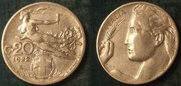 M_p> Regno Vitt Eman III° 20 Centesimi 1922 Donna Librata, BELLA Conservazione - 1861-1946 : Regno