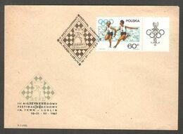 Poland 1967 Lublin - Chess Cancel On Green Commemorative Envelope, Last Day - Ajedrez