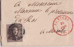 Belgique - COB 1 Sur Pli De La Roche Vers Marche 26 Août 1849 - 1849 Schulterklappen