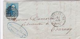 Belgique - COB 1 Sur Pli De Bruxelles à Tournai  31 Août 1849 - 1849 Epauletten