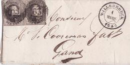 Belgique - COB 6 En Paire Sur Pli De Willebroeck Vers Gand 01 Mars 1856 - 1851-1857 Medaillen (6/8)