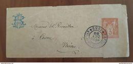 28.09.1889 Type Sage N°86? Orange Rouge? Entier Postal Bande Pour Journal TAD Paris Exposition Universelle, Tour Eiffel - 1876-1898 Sage (Type II)