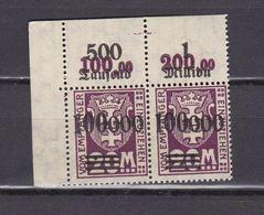 Danzig - Portomarken - 1923 - Michel Nr. 29 P OR Paar Ecke - Postfrisch - 60 Euro - Dantzig