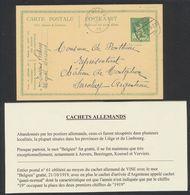 """EP Au Type 5ctm Vert Pellens + Cachet Allemand à Pont Avec """"Belgien"""" Gratté çàd Visé (1919) > Chateau De Montgalion - Fortuna (1919)"""