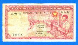 Ruanda Urundi  50  Fr  Du  1 / 8/1959 - Ruanda-Urundi