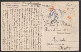 """Affranch. Coloré (n°135 à 139) Au Verso D'une CP Vue En R De Deurne (1919) > Trieste + """"Censura Postale M.10"""" à L'arrivé - Fortune Cancels (1919)"""