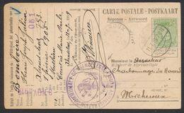 émission 1915 - N°137 Sur CP Réponse + Cachet Allemand Avec Belgien Gratté çàd Herve > Micheroux + Cachet D'administrati - Fortuna (1919)