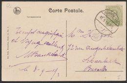 """émission 1915 - N°137 Sur CP Vue + Cachet Allemand Avec Belgien Gratté çàd """"Roanne-Coo"""" (1919) > Bruxelles - Fortuna (1919)"""