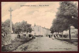 Quintenas Place Du Pontet Animée - Commerce Café - Croix  * Ardèche 07290 *  Arrondissement Tournon-sur-Rhône - Autres Communes