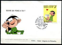 BE   FDC  2484   ---   Franquin  /  Gaston Lagaffe  --  Devine Qui Pense à Toi ?  --  Cachet Melle Jeanne - FDC