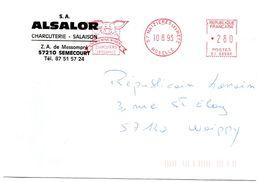 PORC - CHARCUTERIE = 57 MAIZIERES Les METZ 1993 = EMA Illustrée D'un COCHON ' ALSALOR / SALAISON'  Machine SJ - Alimentation