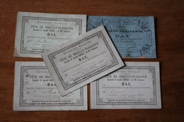 5 Invitations  Neuilly Plaisance   BAL 1879 Et 1880 - Documentos Históricos