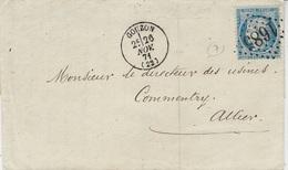 1871- Lettre De GOUZON ( Creuse ) Cad T16 Affr. N°60 Oblit. G C 1685 - 1849-1876: Période Classique