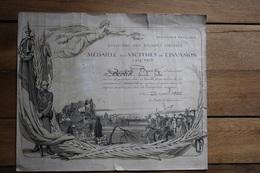 Diplome  De La Médaille Des Victimes De L'invasion 1914 1918 - 1914-18
