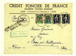 Algérie - Lettre Avion 1954 Alger, Affr. 37 F, Timbre Noir Affranchissement Vérifié - Cartas