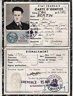 ETAT FRANCAIS 15 Mai 1943 - GRENOBLE (Isère) CARTE D'IDENTITE Pour Henri BERTIN - Historische Documenten
