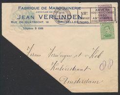 """émission 1915 - N°137 Et 139 Sur Lettre Obl Mécanique """"Bruxelles"""" (VII E Olympiade) > Amsterdam + étiquette De Réparatio - 1915-1920 Albert I"""