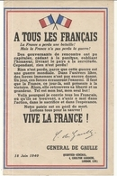 TRACT . APPEL DU 18 JUIN GENERAL DE GAULLE - Documenti Storici