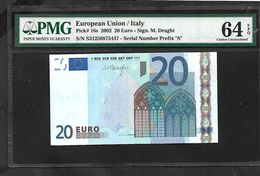 """ITALY  """"S""""  20 EURO PMG 64 EPQ (Exceptional Papere Quality) CHOICE UNC! Draghi Signature Printer J029C4!! - EURO"""