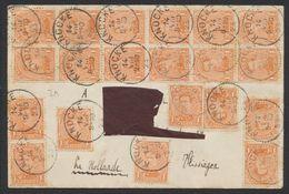 """émission 1915 - N°135 X48 (Affranch. Spectaculaire !) Obl Simple Cercle """"Knocke"""" (1923) > La Hollande (Adresse Déchirée) - 1915-1920 Albert I"""