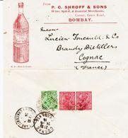 INDE, De Bombay En 1916 Pour Cognac  TB - Inde