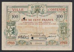 Belgique - Billet De Nécessité : Ville D'Ostende Bon De 100 Francs. Bon état (1915) / Guerre 14-18 - [ 3] Duitse Bezetting Van België