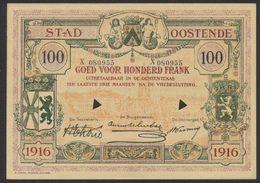 Belgique - Billet De Nécessité : Ville D'Ostende Bon De 100 Francs. Très Bon état (1916) / Guerre 14-18 - [ 3] Ocupaciones Alemanas En Bélgica