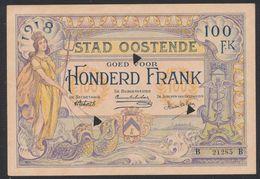 Belgique - Billet De Nécessité : Ville D'Ostende Bon De 100 Francs. Très Bon état (1918) / Guerre 14-18 - [ 3] Duitse Bezetting Van België