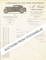 Lettre Illustrée 1932 - M. WALCH - Carrosserie De Luxe Pour Automobiles - België