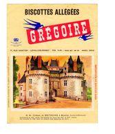Buvard Biscottes Gregoire Levallois Perret Numero N 85 Chateau Bretesches Missillac Loire Inferieur Monument Batiment - Biscottes