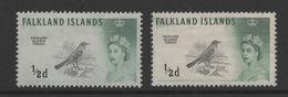 Falkland Islands QE11 1960 Birds 1/2d Both Printings. Mint SG 193 & SG 193a. - Falkland Islands
