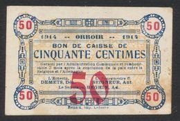 Belgique - Billet De Nécessité : Orroir (1914) Bon De Caisse De Cinquante Centime (Imp. Renaix) / Guerre 14-18 - [ 3] German Occupation Of Belgium