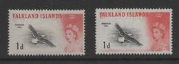Falkland Islands QE11 1960 Birds 1d Both Printings. Mint SG 194 & SG 194a. - Falkland Islands