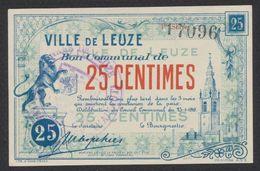 Belgique - Billet De Nécessité : Ville De Leuze (1918) Bon Communal De 25 Centimes, Bleu Et Rouge / Guerre 14-18 - [ 3] Occupazioni Tedesche Del Belgio