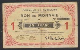 Belgique - Billet De Nécessité : Commune De Rumillies, Bon De Monnaie De 1 Franc (1915) / Guerre 14-18 - 1-2 Franchi
