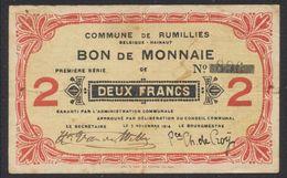 Belgique - Billet De Nécessité : Commune De Rumillies, Bon De Monnaie De 2 Franc (1914) / Guerre 14-18 - 1-2 Franchi