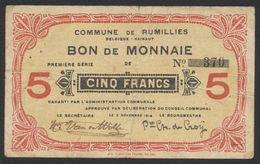 Belgique - Billet De Nécessité : Commune De Rumillies, Bon De Monnaie De 5 Franc (1914) / Guerre 14-18 - 5 Franchi