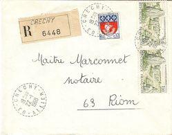 Lettre De CRECHY (ALLIER) Avec CàD Type B 8  Du 22/01/1968 - 1961-....