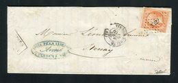 Belle Lettre En Double Port De Verdun Pour Stenay ( 1860 ) Avec Un N° 16 - Cachet PC 3522 - Postmark Collection (Covers)