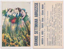 B.Cascella - Donne Con Spighe Di Grano, Grande Settimana Abruzzese, Agenzia A. Gnoli, Agosto 1923, Pubblicità, Reclame - Autres Illustrateurs